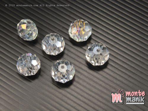 12 Biji Manik Kristal Ceko Donat Putih Bening 14 mm (KRISTAL-121)