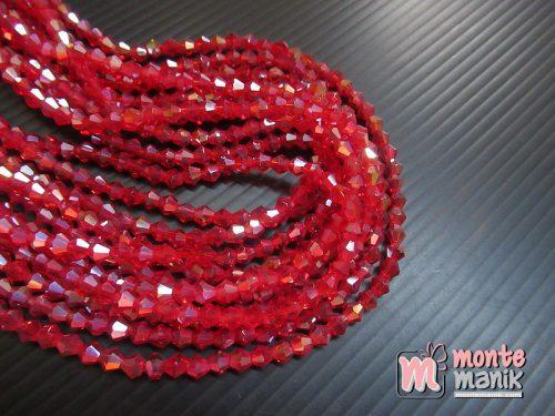 1 Untai Manik Kristal Ceko Bicone 4 mm Merah (KRISTAL-129)