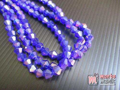 1 Untai Manik Kristal Ceko Bicone 6 mm Capri Blue (KRISTAL-133)