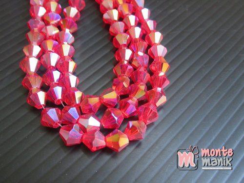 1 Untai Manik Kristal Ceko Bicone 6 mm Merah (KRISTAL-131)