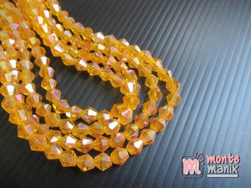 1 Untai Manik Kristal Ceko Bicone 6 mm Orange Muda (KRISTAL-132)