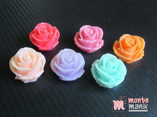 10 Buah Resin Bunga Mawar Gembul 2 cm (MRI-024)
