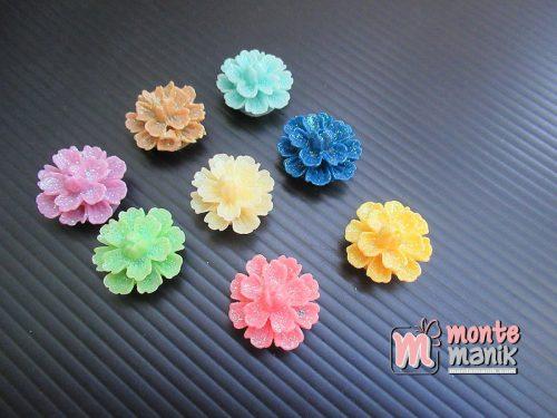 10 Buah Resin Bunga Teratai Glitter 1,9 cm (MRI-020)