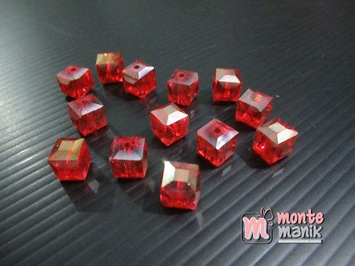 10 Butir Kristal Ceko Kubus 9 mm Merah (KRISTAL-135)