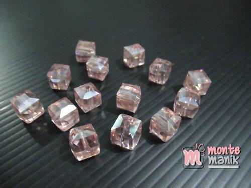 10 Butir Kristal Ceko Kubus 9 mm Pink (KRISTAL-138)