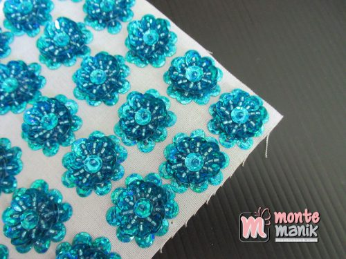 10 Pcs Aplikasi Bunga Payet Biru 2 cm (APA-014)