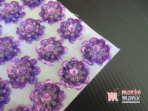 10 Pcs Aplikasi Bunga Payet Ungu Muda 2 cm (APA-015)
