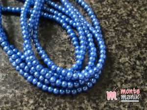 1 Untai Mutiara Sintetis 4 mm Biru Tua KK12
