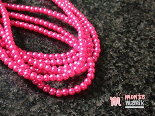 1 Untai Mutiara Sintetis 4 mm Hot Pink KK08