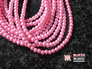 1 Untai Mutiara Sintetis 4 mm Pink KK14