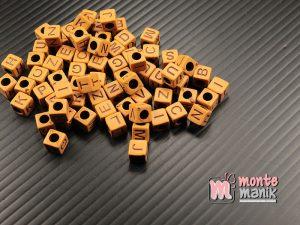 1 Pon Manik Huruf Kotak 7 mm Coklat (GS-05)