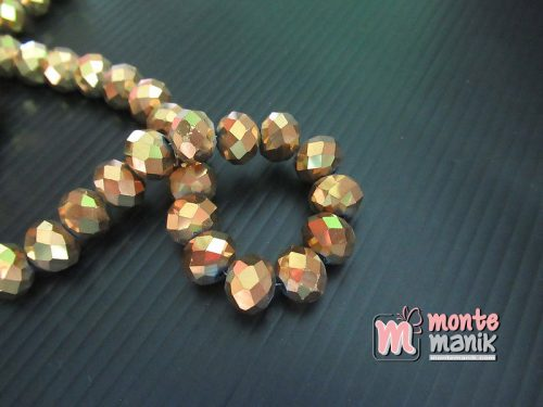 12 Butir Kristal Donat Metalik Emas 10 mm (KRISTAL-144)
