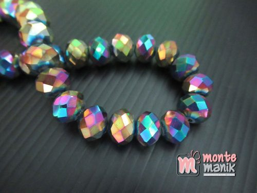 12 Butir Kristal Donat Metalik Pelangi 10 mm (KRISTAL-145)