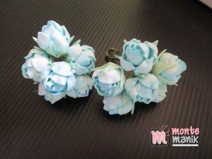 6 Tangkai Bunga Spon Kuncup Biru 2 cm (APA-20)