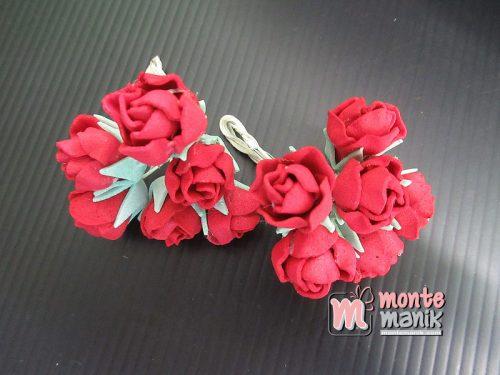 6 Tangkai Bunga Spon Kuncup Merah 2 cm (APA-21)