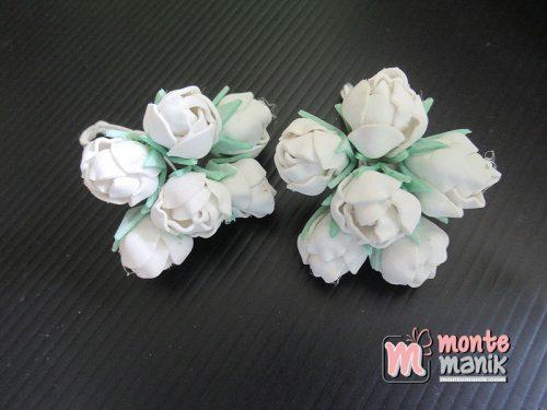 6 Tangkai Bunga Spon Kuncup Putih 2 cm (APA-23)