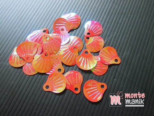 50 Biji Sequin Kerang 18 x 20 mm Merah SQ-06