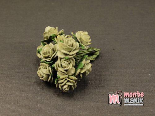 1 Ikat Bunga Mawar Kertas Hijau Keabuan 1 cm (APA-35)