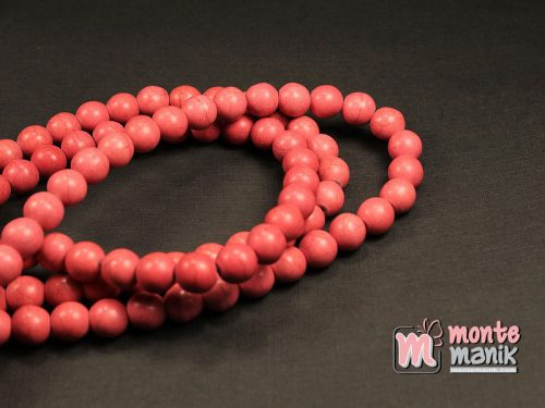 24 Butir Manik Batu Phyrus 8 mm Merah Muda (BTA-021)