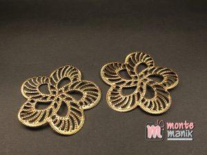 3 Pcs Lempengan Plat Bunga Emas 6 cm (OLT-060)