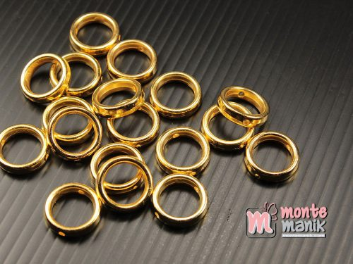 30 pcs Pembatas manik Plastik Ring O Emas 10 mm (SPACER-054)