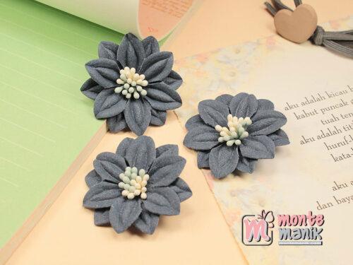 1 Buah Bunga Suede Biru Tua 4 cm (APB-169)