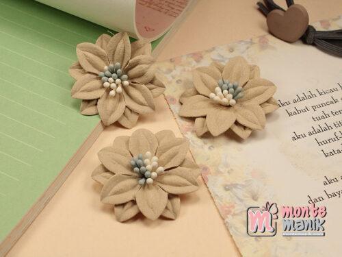 1 Buah Bunga Suede Creame 4 cm (APB-171)