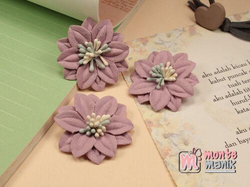 1 Buah Bunga Suede Dusty Pink 4 cm (APB-172)