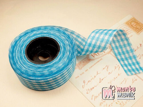 1 Roll Pita Gingham Biru 2,5 cm GM12