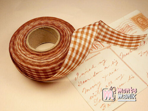 1 Roll Pita Gingham Coklat 2,5 cm GM08