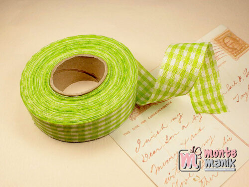 1 Roll Pita Gingham Hijau 2,5 cm GM09