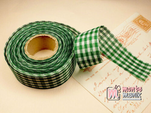 1 Roll Pita Gingham Hijau Tua 2,5 cm GM01