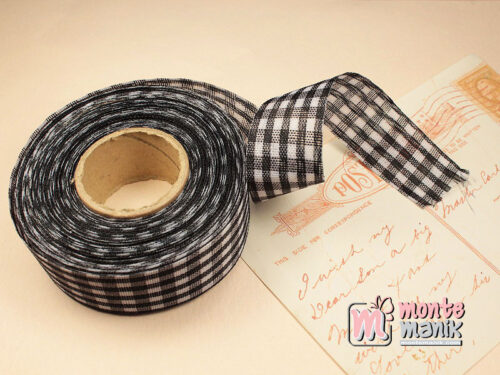 1 Roll Pita Gingham Hitam 2,5 cm GM06