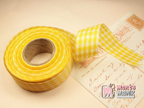 1 Roll Pita Gingham Kuning 2,5 cm GM07