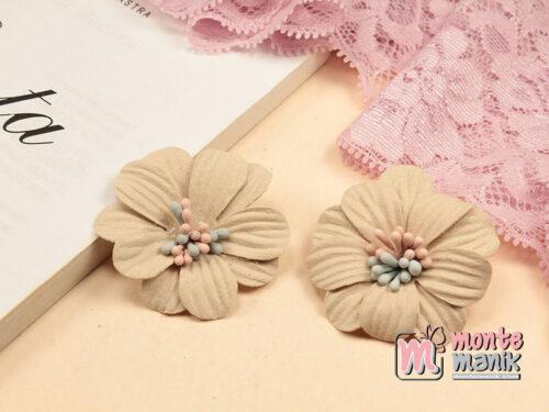 1 Buah Bunga Suede Daisy Creame 4 cm (APB-203)