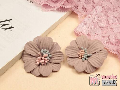 1 Buah Bunga Suede Daisy Dusty Pink 4 cm (APB-204)
