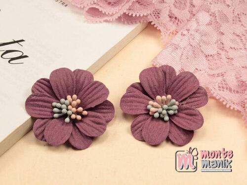 1 Buah Bunga Suede Daisy Plum 4 cm (APB-201)
