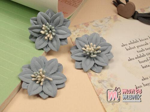1 Buah Bunga Suede Dusty Blue 4 cm (APB-174)