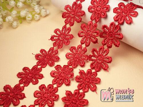 1 Yards Renda Bunga Melati Merah GPR10