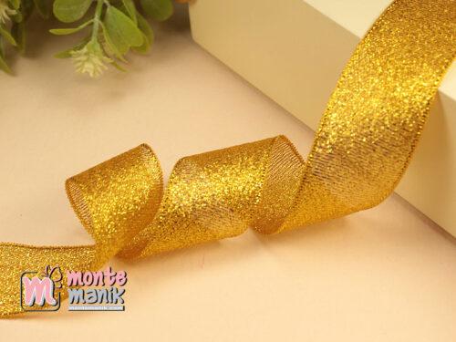 1 Meter Pita Glitter Kuning 2,5 cm PTR22