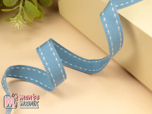 1 Yards Pita Strip 1 cm Biru Muda PTR15