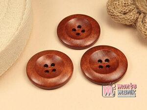 5 Buah Kancing Kayu Bulat Coklat 3 cm KKN115