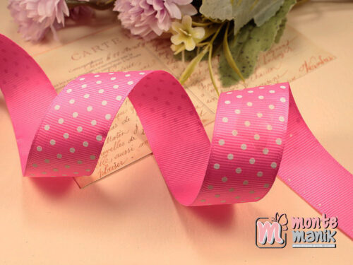 1 Meter Pita Grosgrain Polka 2,5 cm Hot Pink GG50