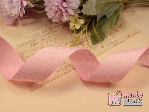 1 Meter Pita Grosgrain Polka 2,5 cm Pink GG54
